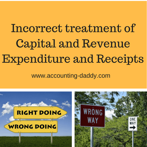 Incorrect treatment of Capital and Revenue Expenditure and Receipts.